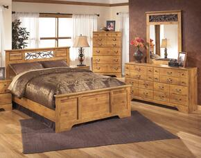 Bittersweet Queen Bedroom Set with Panel Bed, Dresser and Mirror in Light Brown