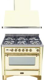 "2-Piece Antique White Kitchen Package with UM906DVGGA 36"" Freestanding Gas Range and UAM90A 36"" Wall Mount Range Hood"