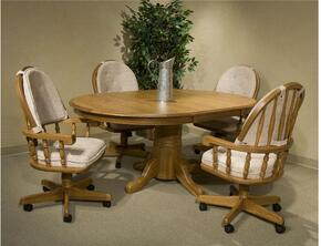 Classic Oak CO-TA-I48702501B-CNT-C Dining Room Table and 4 Chairs with  Molding Details in Chestnut