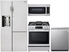LG Side-by-Side Door-in-Door Refrigerator, Gas Range, Microwave and Front-Control Quad-Wash Dishwasher - Stainless Steel
