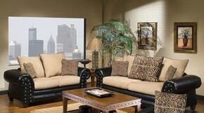 9950SL Zoie Sofa + Loveseat with 1.5 Density Dacron Wrapped Cushions, Sewn Pillow Cushions, No Sag Steel Springs, PVC Upholstery and Zippered Cushions in Denver Black and Delray Camel