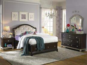 Glamour 86885323611SET 4 PC Bedroom Set with Full Size Storage Bed + Dresser + Mirror + Nightstand in Black Cherry Finish