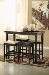 Kimonte Collection 5-Piece Dining Room Set with Rectangular Counter Table and 4 Barstools in Dark Brown and Ivory