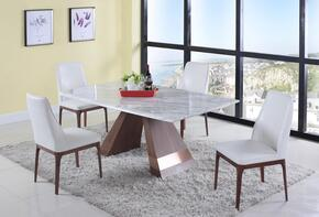 SCARLETT-SALLIE-5PC 5-Piece Dining Room Sets with Rectangular Dining Table, and 4x White Dining Chairs in Jazz White