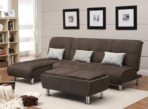 Ellwood 300276SET 3 PC Living Room Set with Convertible Sofa + Chaise Lounge + Ottoman in Brown Color