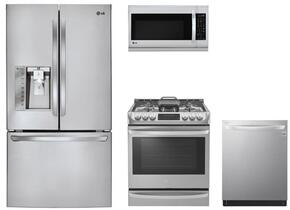"4-Piece Kitchen Package with LFXS30726S 36"" French Door Refrigerator, LSG4513ST 30"" Gas Range, LMH2235ST 30"" Microwave Oven and LDT5665ST 24"" Built in Dishwasher in Stainless Steel"