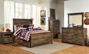 Trinell Full Bedroom Set with Panel Bed with Trundle, Dresser, Mirror and Nightstand in Brown