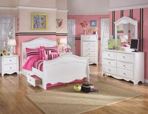 Exquisite Full Bedroom Set with Sleigh Bed with Underbed Drawers, Dresser, Mirror, Nightstand and Chest in White