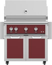 "36"" Freestanding Liquid Propane Grill with GCD36BG Tower Grill Cart with Double Doors, in Tin Roof Burgundy"