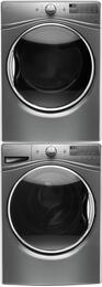 """Chrome Shadow WFW9290FC 27"""" Front Load Washer with WGD92HEFC 27"""" Gas Dryer and W10869845 Stacking Kit"""