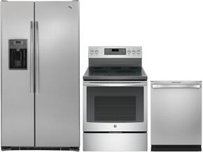 "3 Piece Kitchen Package with PFE28PBLTS 36"" Side by Side Refrigerator, JB750SJSS 30"" Freestanding Electric Range and GDT655SSJSS 24"" Built-in Dishwasher in Stainless Steel"