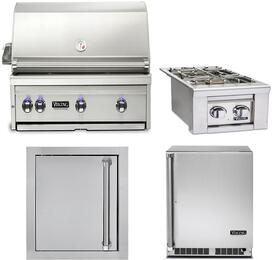 """4-Piece Stainless Steel Outdoor Kitchen Package with VQGI5360LSS 36"""" Built-In Liquid Propane Grill, VQGSB5130LSS 13"""" Side Burner, VOADS5180SS 18"""" Access Door, and VRUO5240DRSS 24"""" Outdoor Refrigerator"""