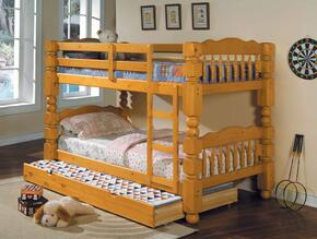 Benji 02575BT 2 PC Bedroom Set with Twin Bunk Bed + Trundle in Honey Oak Finish