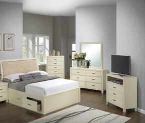 G1290BFSBCHDMTV 5 Piece Set including Full Size Bed, Chest, Dresser, Mirror and Media Chest  in Beige