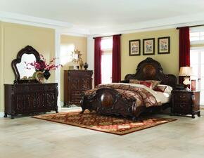 Abigail 204450KEDMCN 5 PC Bedroom Set with Eastern King Size Bed + Dresser + Mirror + Chest + Nightstand in Cherry Finish