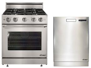 "Distinctive 2-Piece Stainless Steel Kitchen Package with DR30GSLP 30"" Freestanding Gas Range with Liquid Propane and DDW24S 24"" Full Console Dishwasher"