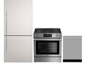 "3-Piece Kitchen Package with BRFB1812SSN 30"" Bottom Freezer Refrigerator, BGR30420SS 30"" Slide-in Gas Range, and a free DWT57500SS 24"" Built In Fully Integrated Dishwasher in Stainless Steel"