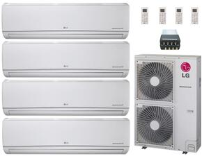 LMU480HVKIT28 Quad Zone Mini Split Air Conditioner System with 48000 BTU Cooling Capacity, 4 Indoor Units, Outdoor Unit, and 4-Port Distribution Box