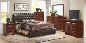 G1550CFBUPS 6 PC Bedroom Set with Full Size Bed + Dresser + Mirror + Chest + Nightstand + Media Chest in Cherry Finish