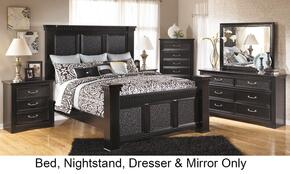 Cavallino B29115816699313592 4-Piece Bedroom Set with King Size Mansion Bed, Dresser, Mirror and Nightstand in Black