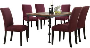 Vriel Collection 71580PSET 7 PC Dining Room Set with Dining Table + 6 Purple Side Chairs in Dark Oak and Black Finish