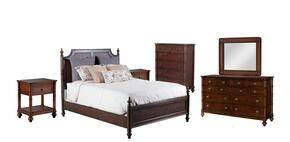 Passages Collection 14BO7024PW6PCQPSMDDLM21DN6DCKIT1 6-Piece Bedroom Sets with Queen Poster Bed, Dresser, Mirror, 2x Nightstand and Chest in Akzo Nobel