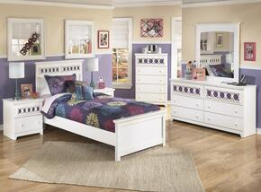 Zayley Twin Bedroom Set with Panel Bed, Dresser, Mirror and Nightstand in White