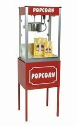 "1108510KIT1 8-Oz. 20"" Thrifty Pop Popcorn Machine and 21"" Medium Thrifty Pop Stand with Inner shelf and Red Powder-Coat Finished Surface"