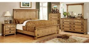 Pioneer Collection CM7449KBDMCN 5-Piece Bedroom Set with King Bed, Dresser, Mirror, Chest and Nightstand in Weathered Elm Finish