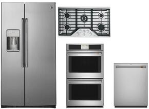 "4 Piece Stainless Steel Kitchen Package With CZS22MSKSS 36"" Side By Side Refrigerator, CGP650SETSS 36"" Gas Cooktop, CT9550SHSS 30"" Double Wall Oven and CDT835SSJSS 24"" Dishwasher"