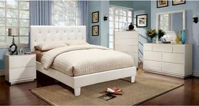 Velen Collection CM7949WHTBDMCN 5-Piece Bedroom Set with Twin Bed, Dresser, Mirror, Chest, and Nightstand in White Color