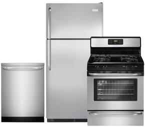 "3-Piece Stainless Steel Kitchen Package with FFTR18G2QS 30"" Top Freezer Refrigerator, FFGF3053LS 30"" Freestanding Gas Range and FFID2423RS 24"" Fully Integrated Dishwasher"