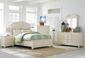 Seabrooke 4471CKSBNDM 4-Piece Bedroom Set with California King Storage Bed, Nightstand, Door Dresser and Mirror in Cream Finish