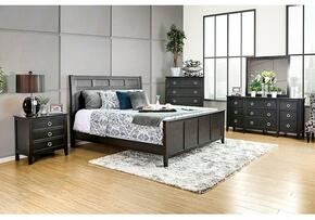 Arabelle Collection CM7481CKBDMCN 5-Piece Bedroom Set with California King Bed, Dresser, Mirror, Chest and Nightstand in Wire-Brushed Black Finish