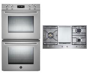 "Professional 2-Piece Stainless Steel Kitchen Package with FD30PROXE 30"" Double Electric Wall Oven and PM3630GX 36"" Gas Cooktop"