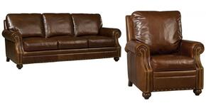 SS138 2-Piece Living Room Set with Sonata Largo Stationary Sofa and Recliner in Medium Brown