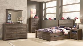 Juararo Full Bedroom Set with Panel Storage Bed, Dresser, Mirror, Chest and Nightstand in Dark Brown