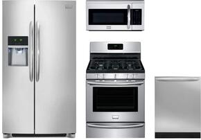 "4-Piece Kitchen Package with FGHC2331PF 36"" Side by Side Refrigerator, DGGF3046RF 30"" Gas Freestanding Range, FGID2466QF 24""Built In Dishwasher and  FGMV175QF 30"" Over The Range Microwave Oven in Stainless Steel"