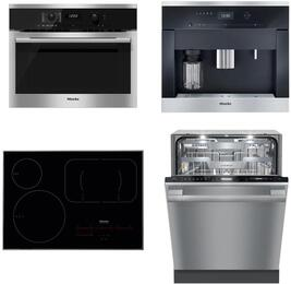 """4-Piece Kitchen Package with H6100BM 24"""" Speed Oven, KM6360 24"""" Electric Smoothtop Style Cooktop, G6875SCVISF 24"""" Built In Fully Integrated Dishwasher, and CVA6405 24"""" Built-In Coffee System in Stainless Steel"""