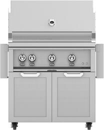 """36"""" Freestanding Natural Gas Grill with GCD36 Tower Grill Cart with Double Doors, in Steeletto Stainless Steel"""