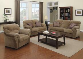Patricia 51950SLCT 6 PC Living Room Set with Sofa + Loveseat + Chair + 3 PK Table Set in Light Brown Color