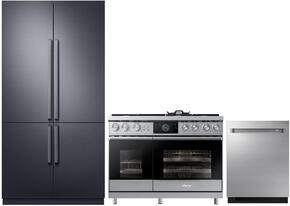 "3-Piece Stainless Steel Kitchen Package with DRF427500AP 42"" French Door Refrigerator, DOP48M96DPS 48"" Freestanding Gas Range, and  DDW24M999US 24"" Fully Integrated Dishwasher"