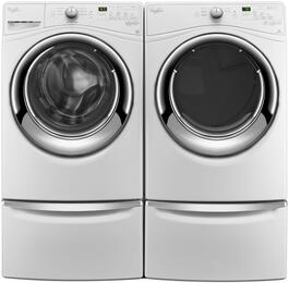 "White Front Load Laundry Pair with WFW7540FW 27"" Washer, WED7540FW 27"" Electric Dryer and 2 XHPC155XW Pedestals"