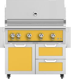 "42"" Freestanding Liquid Propane Grill with GCR42YW Tower Grill Cart with Double Drawer and Door Combo, in Sol Yellow"