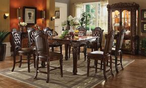 Vendome 62025TCC 10 PC Bar Table Set with Counter Height Table + 8 Chairs + Curio Cabinet in Cherry Finish