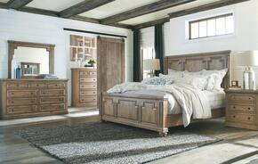 Florence Collection 205170KESET 5 PC Bedroom Set with King Size Bed + Dresser + Mirror + Chest + Nightstand in Rustic Smoke Finish