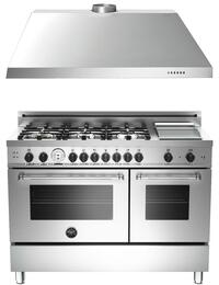 "2-Piece Stainless Steel Kitchen Package with MAS486GGASXT 48"" Dual Fuel Range with Natural Gas and KU48PRO1X14 48"" Wall-Mount Hood"