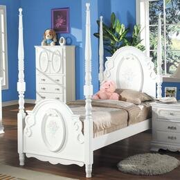 01660TNTVA Flora Twin Size Poster Bed + Nightstand + TV Armoire  in White Finish