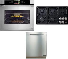 "3-Piece Stainless Steel Kitchen Package with DYO130S 30"" Single Electric Wall Oven, RNTT365GBLP 36"" Gas Cooktop and RDW24S 24"" Fully Integrated Dishwasher with ARDWP24H 24"" Pro Style Dishwasher Handle"
