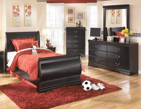 Huey Vineyard Twin Bedroom Set with Sleigh Bed, Dresser, Mirror and Chest in Black